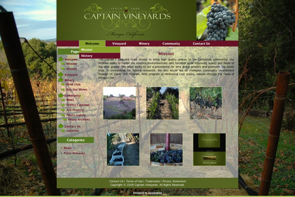 Captain Vineyards Website